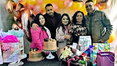 Sergio with his twin sisters and parents at the sisters' 30th birthday.