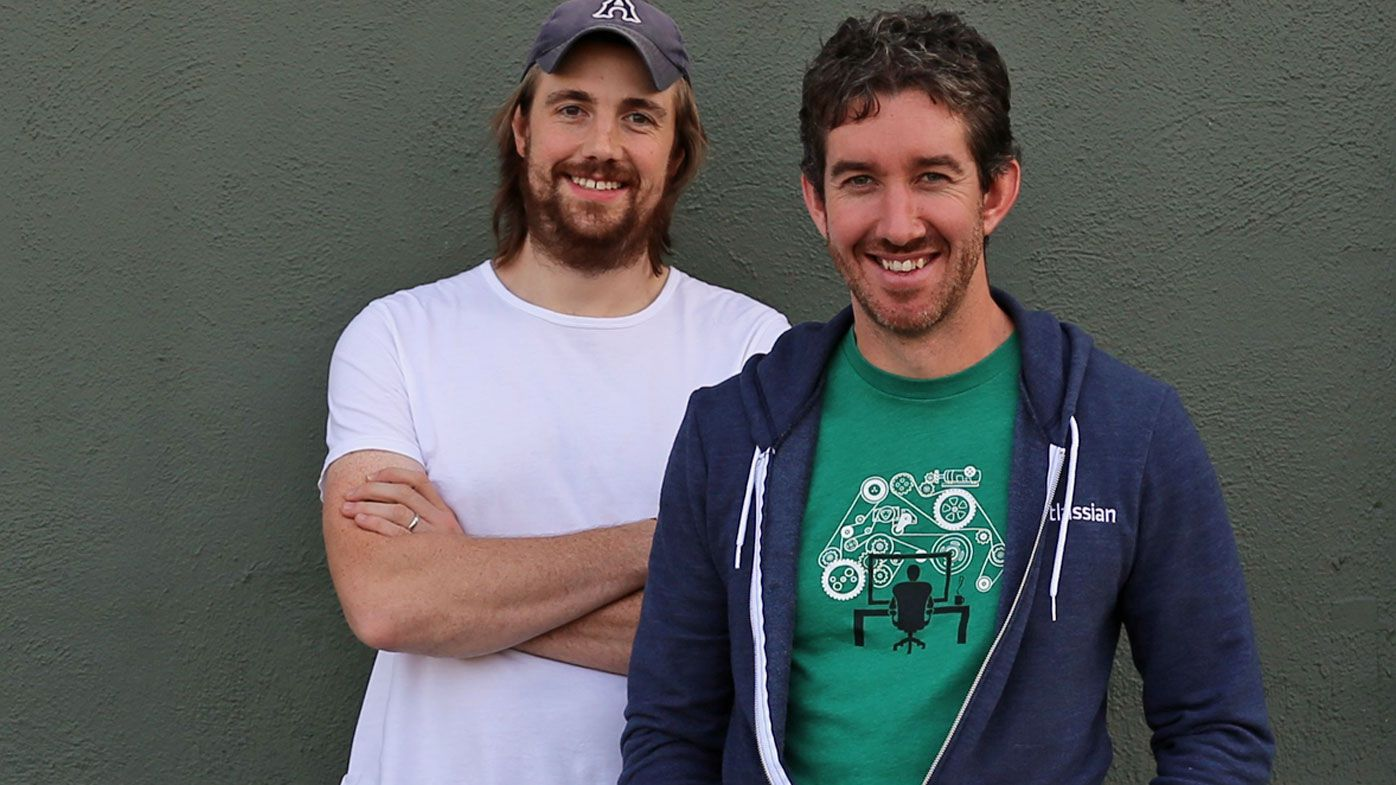 Founders of Sydney technology company Atlassian Scott Farquhar and Mike Cannon-Brookes. (AAP)