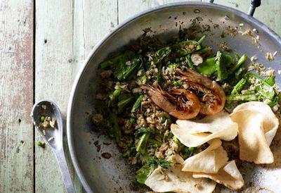 """Recipe: <a href="""" /recipes/ichicken/9094903/janet-deneefes-nasi-goreng-fried-rice"""" target=""""_top"""">Nasi goreng (fried rice)</a>"""