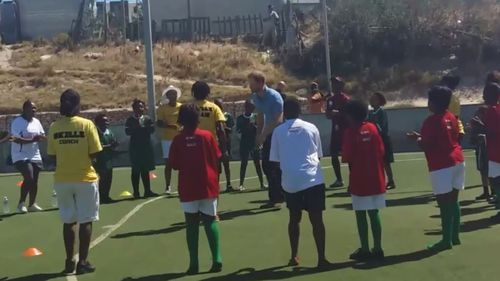 Prince Harry dances with children in South Africa