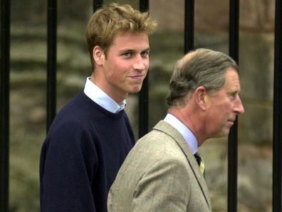 Prince William arrives at St Andrew's University with Prince Charles in 2001