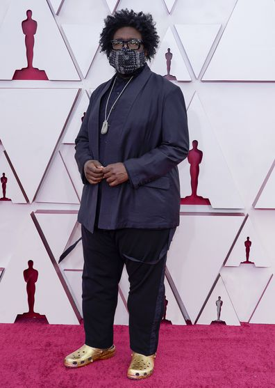 Questlove arrives at the Oscars on Sunday, April 25, 2021, at Union Station in Los Angeles.