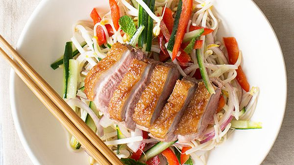 Nadia Lim's hoisin duck and soba noodle salad with orange dressing