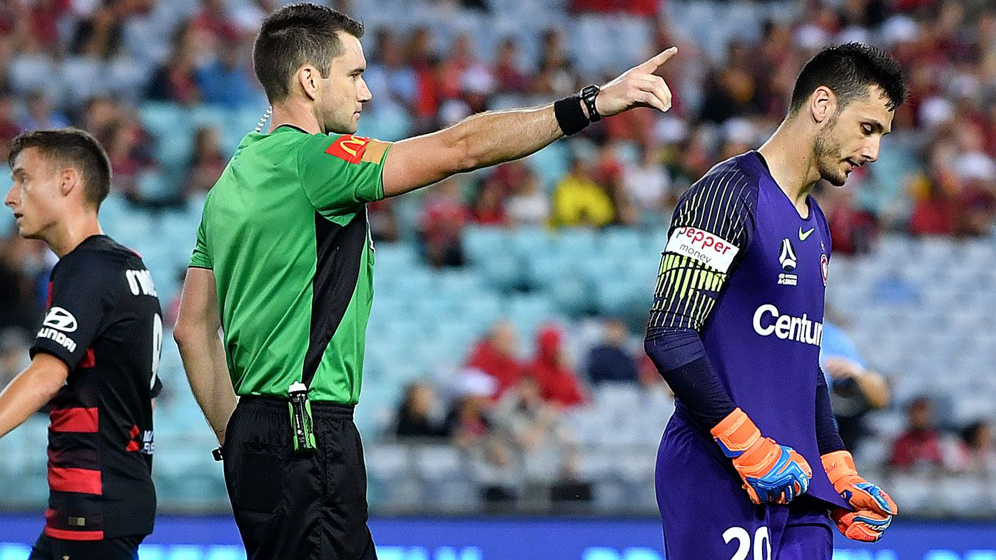 Wanderers goalkeeper Vedran Janjetovic sees red in bizarre Sydney derby moment