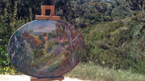 A painting by Concetta Antico as she sees the pictured landscape.