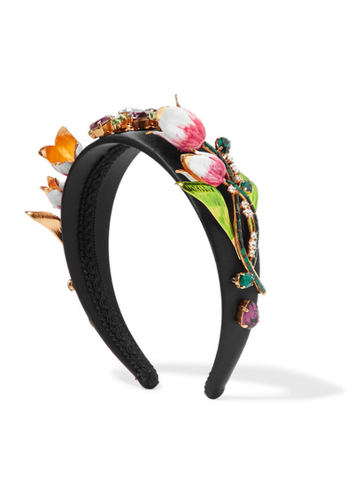 "<a href=""https://www.net-a-porter.com/au/en/product/732477/dolce___gabbana/gold-tone--enamel-and-swarovski-crystal-embellished-satin-headband"" target=""_blank"">Dolce &amp; Gabbana  headband, $4150. </a><br>"