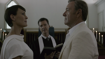 <p>With both Claire and Frank wearing white we get to see a softer side to the ruthlessly ambitious political pair who may not love anyone else as much as they love each other, and themselves.</p>