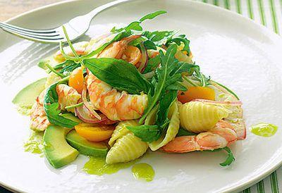 Prawn and avocado pasta salad