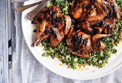 Quail with lemon tabouleh