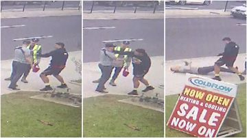 CCTV footage shows a man take a swing at another man during an apparent argument, before the victim falls to the ground.