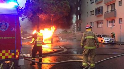 Fire crews working to contain a sub-station fire in Pyrmont last week. (Picture: Fire and Rescue NSW)