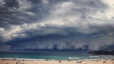 Time to get out of the water! Storm clouds over Bondi. (Supplied, Jennifer Yairy)