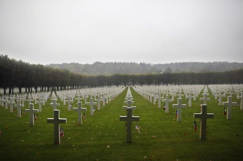 Rows and rows of white crosses where some of America's 26,000 Meuse-Argonne losses are buried.