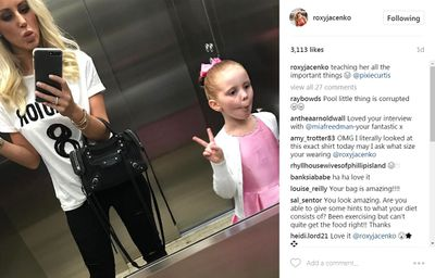 Fish face: Roxy Jacenko teaching daughter Pixie the important things in life.