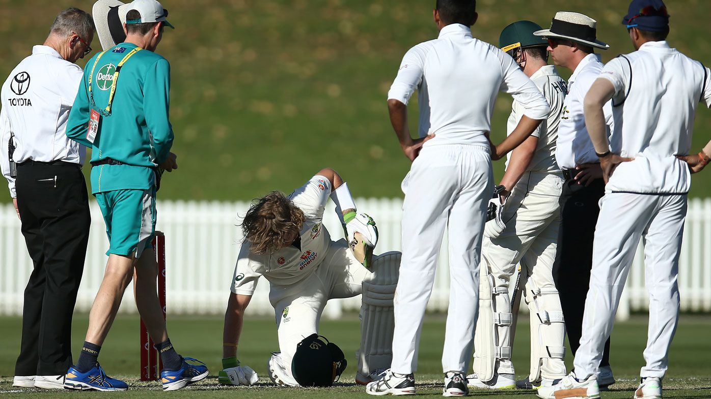 Will Pucovski goes down after being struck by a bouncer. (Getty)