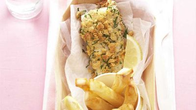 Rice-crumbed fish and chips
