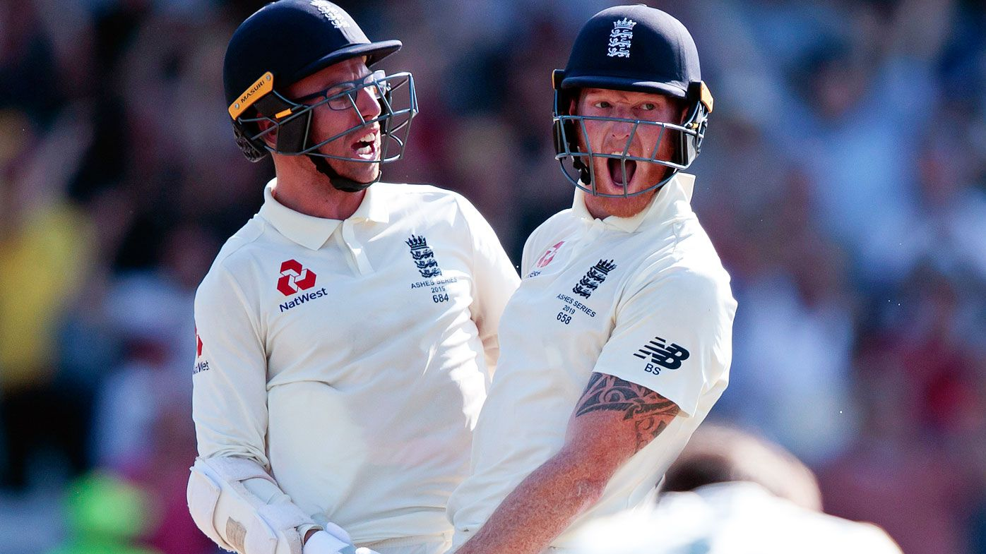 Ben Stokes celebrates his winning runs