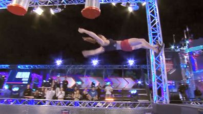 Olivia Vivian had a shock landing on the Australian Ninja Warrior Course.