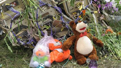 People lay flowers and put toys, belonging to the child passengers who were killed in the crash, upon the wreckage of plane.