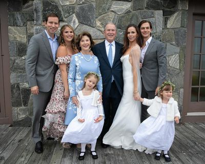 Barbara and Craig (left) pose with George W. Bush, Laura Bush, Jenna Bush Hager and the flower girls.
