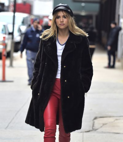 Model and actress Suki Waterhouse strolling the streets in New York's West Village.