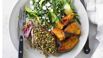 "<a href=""http://kitchen.nine.com.au/2016/05/04/15/38/dukkah-spiced-lamb-leg-steaks-with-rocket-and-feta-salad"" target=""_top"">Dukkah spiced lamb leg steaks with rocket and feta salad</a> recipe"