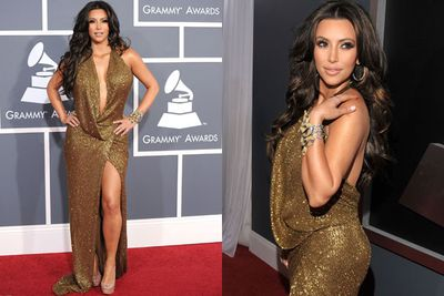 Once upon a time, Kim Kardashian's golden embellished Grammys frock matched her golden embellished highlights...and we hated both. <br/><br/>PS. <I>Jersey Shore</I> called Kim, they think <I>they</I> wore it better.