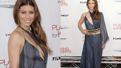 Jessica Biel's sideways cleavage dress drops jaws at film premiere, reveals why she chose pink wedding dress