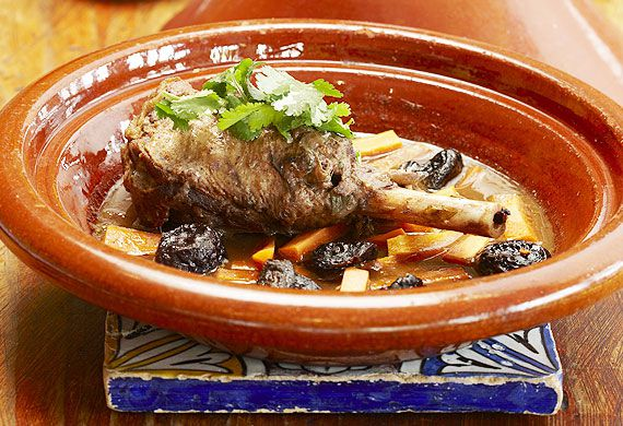 Lamb shank tagine with pale ale, carrots and prunes