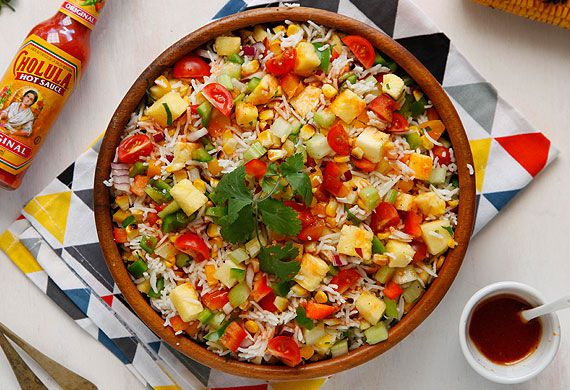 Mexican rice salad with Cholula hot sauce and lime dressing