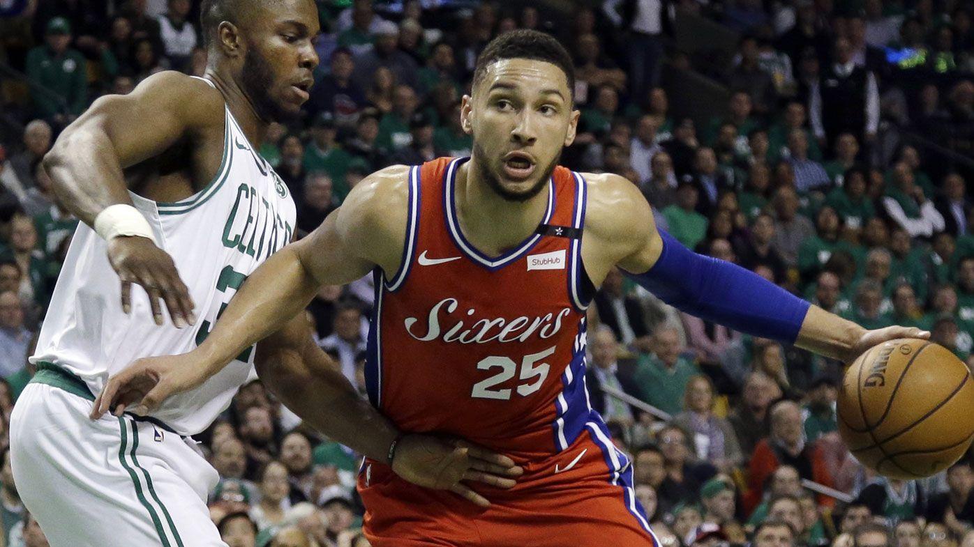 Simmons (25) drives against Boston Celtics forward Semi Ojeleye