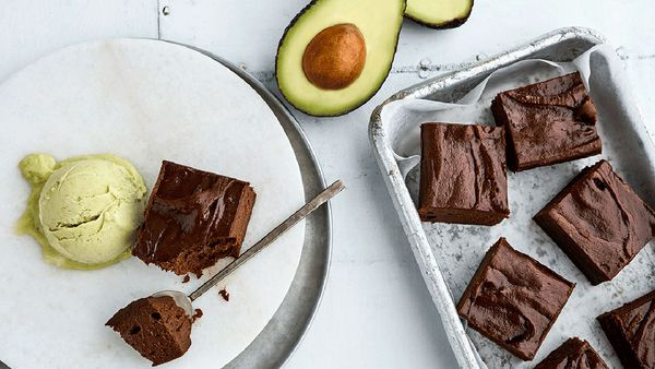 Avocado brownies with green avocado ice cream