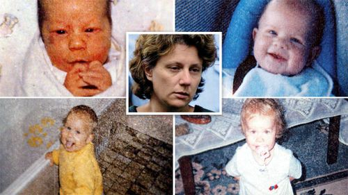 Kathleen Folbigg (centre) and her four children (clockwise from top left) Caleb, Patrick, Sarah and Laura. (AAP)