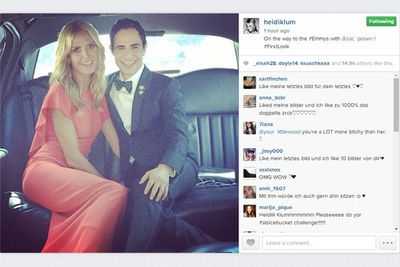 @heidiklum: On the way to the #Emmys with @zac_posen! #Firstlook