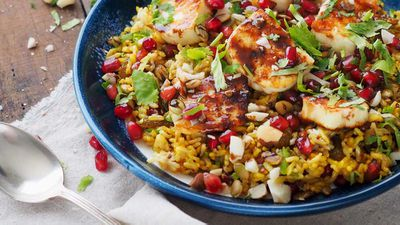 Spiced brown basmati, quinoa and haloumi salad