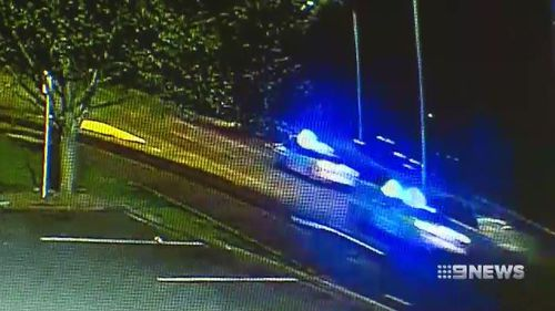 The stolen car was eventually tracked to a quiet residential street after blowing two tyres.
