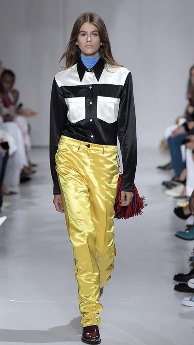 Kaia Gerber making her runway debut for Calvin Klein, New York Fashion Week, September 2017.