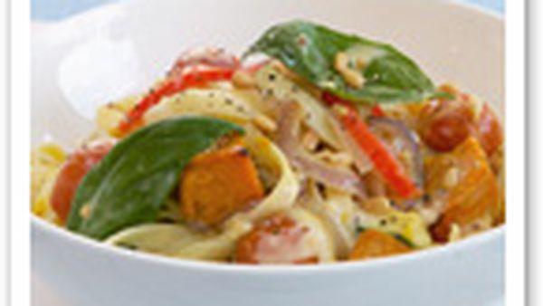 Roast pumpkin and zucchini pasta