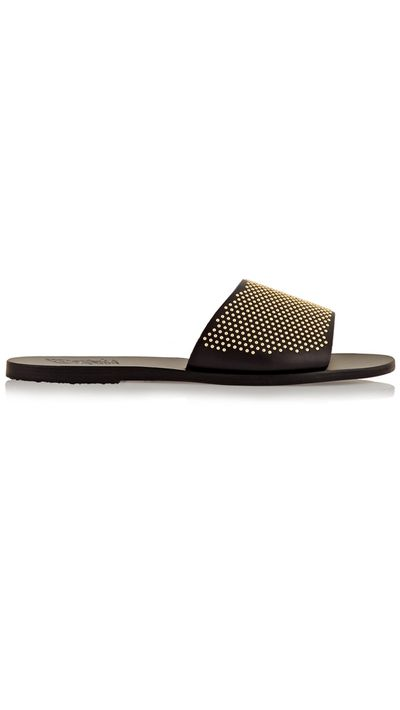 """<p><a href=""""http://www.net-a-porter.com/product/571851/Ancient_Greek_Sandals/taygete-studded-leather-slides"""" target=""""_blank"""">Slides, $217.90, Ancient Greek Sandals at net-a-porter.com</a></p>"""