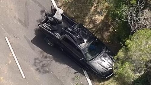 The driver of this vehicle was taken to hospital by helicopter with serious chest injuries. (9NEWS)