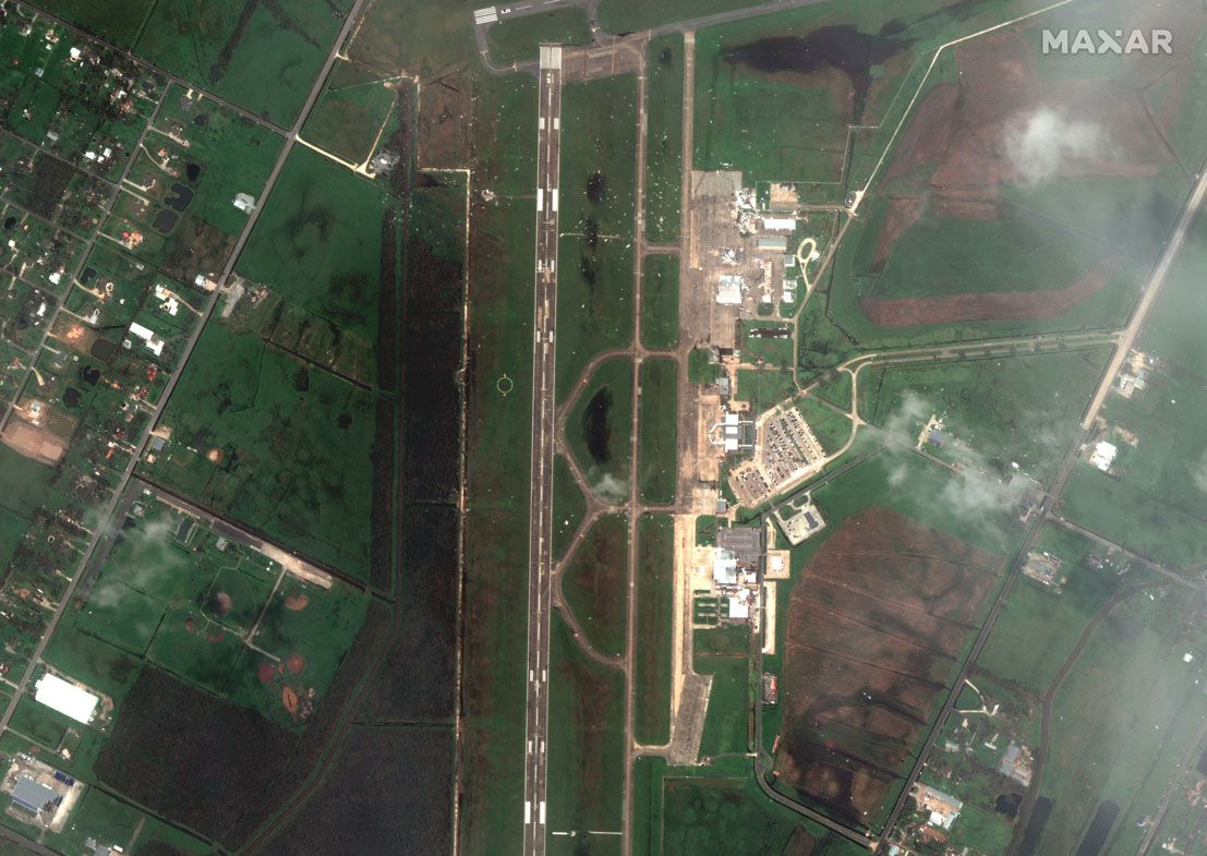 This Aug. 27, 2020, satellite photo provided by Maxar Technologies shows an overview of Lake Charles Regional Airport, in Lake Charles, La., after Hurricane Laura