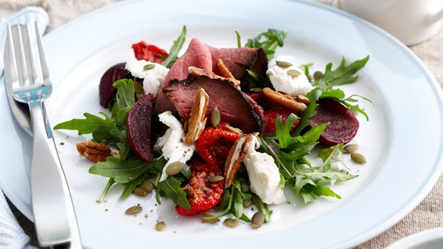 Beetroot, beef and mozzarella salad