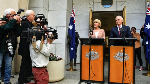 Minister for Foreign Affairs Julie Bishop and Prime Minister Malcolm Turnbull at a press conference at Parliament House in Canberra, Tuesday, August 21, 2018