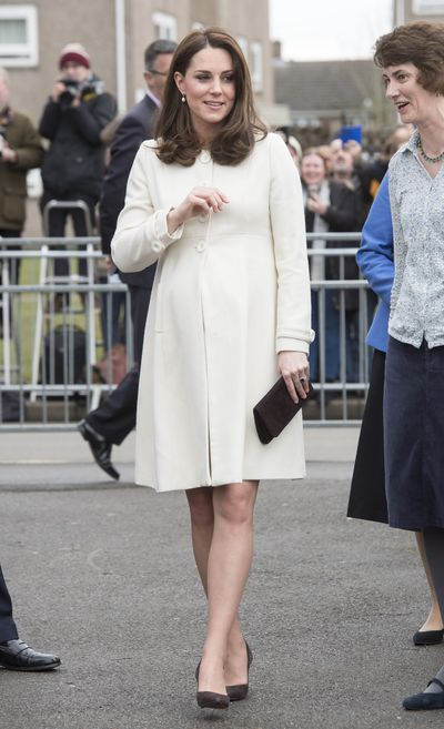 Duchess of Cambridge Kate Middleton wearing aJojo Maman Bébécoat at Pegasus Primary School in Oxford on March 6, 2018