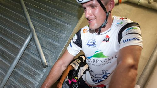 World record holder cycles up over 3,000 steps in Taipei tower