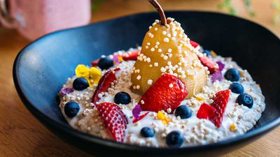 """Recipe: <a href=""""http://kitchen.nine.com.au/2017/07/07/14/59/wild-sages-bircher-muesli-with-poached-pears-and-coconut-yogurt"""" target=""""_top"""">Wild Sage's bircher muesli with poached pears</a><br /> <br /> More: <a href=""""http://kitchen.nine.com.au/2016/06/06/23/15/ditch-dull-breakfasts-with-our-morning-favourites/"""" target=""""_top"""">nourishing breakfasts</a>"""
