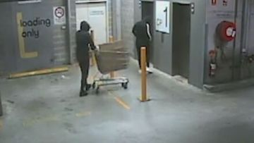 Three men caught on CCTV stealing a safe filled with jewellery from a store in Ultimo, Sydney.