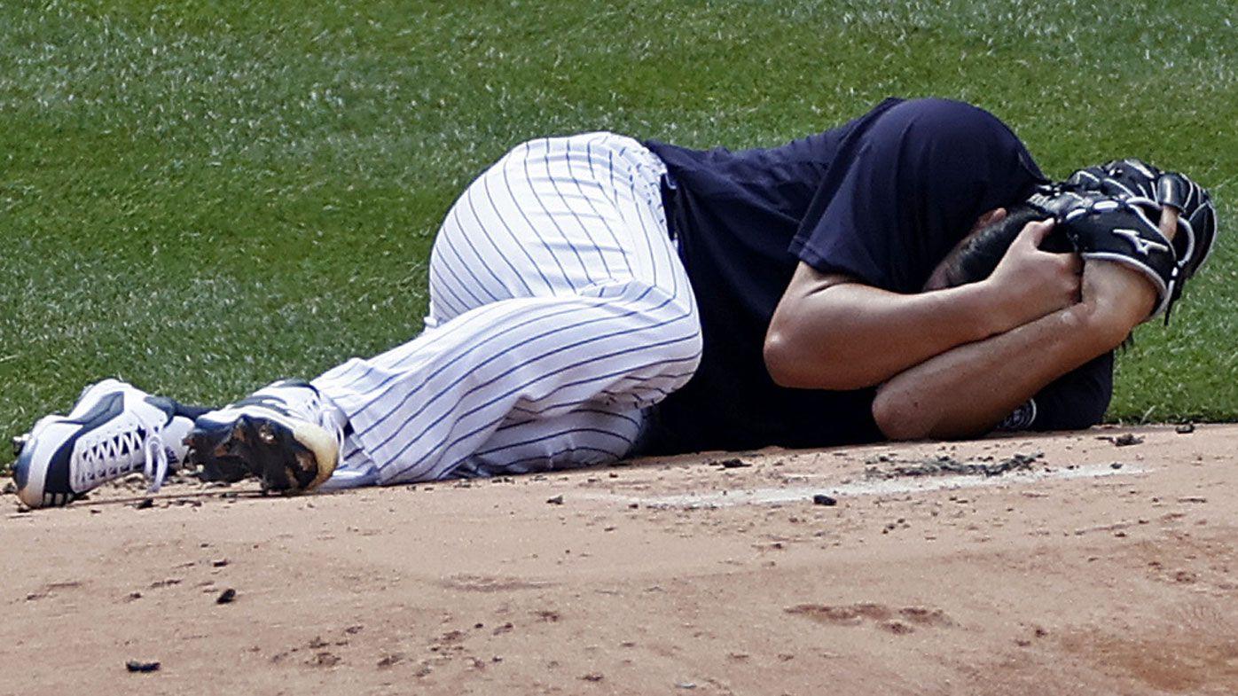 Yankees pitcher Masahiro Stanton hit by Giancarlo Stanton line drive in practice