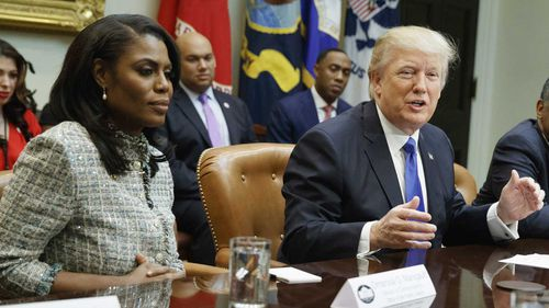 Omarosa Manigault-Newman with Donald Trump. (AAP)