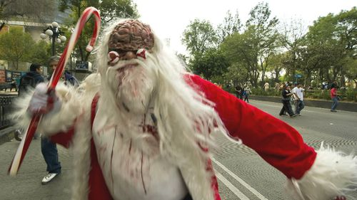He knows if you've been bad: Zombie Santa scaring the pants of US town